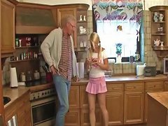 Blonde Teen With Old Guy