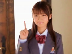 Sexy Japanese Teen Gives  Wearing Her School Uniform